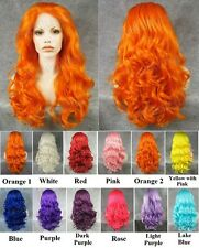 "24"" Front lace orange pink blue purple red white long wavy synthetic cosplay wig"