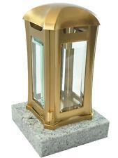 Grablaterne aus Edelstahl auf Granitsockel, Viscount White, Grablampe Grablicht