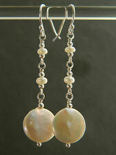 Ivory White Freshwater Coin & Seed Pearls & 925 Sterling Silver Bridal Earrings