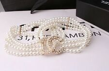 Glam ivory pearl belt crystal rhinestone bling adorned stretchable chain size S
