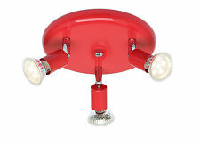 Stylish Ceiling Gloss Red & Chrome 3 Way Round Ceiling Spot Light fixture