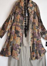 Superbe SARAH santos asymétrique 100% lin manteau taille l/xl multi impression moka