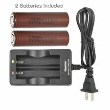 18650 Dual Charger & 2 x LG HG2 Battery 3000mAh High Drain 20A Flat Top