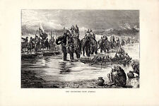 """S.P.HALL - """"DEPARTURE FROM JUMMOO""""- WOOD ENGRAVING FROM 'THE PRINCE'TOUR' (1877)"""