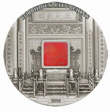 Palau 2016 China Empire Forbidden City Agate 20 Dollars 5oz Silver Coin,Rare