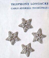 "4 Tiny Vintage Silver Metallic Bullion Stars Military  Applique 5/8"""