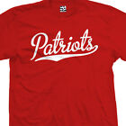 Patriots Script & Tail T-Shirt - Baseball Style Text Football All Sizes & Colors