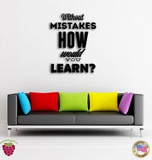 Wall Sticker Quotes Words Inspire Without Mistakes How Would You Learn z1495