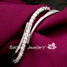 18K White GOLD GF Womens SILVER Bangle BRACELET SWAROVSKI DIAMOND Wedding ES702