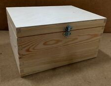 pine wooden storage box RN130 19.5x14.5x11CM  design paint stain silver clasp