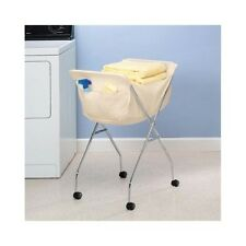 Rolling Laundry Cart Portable Clothing Basket Wheeled Folding Cleaning Hamper