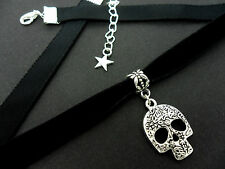 Damas Niñas De 10 Mm De Terciopelo Negro & Skull encanto Collar Gargantilla. Nuevo.