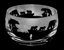 *POLAR BEAR GIFT* Boxed 12cm CRYSTAL GLASS BOWL with POLAR BEAR MUM & CUBS