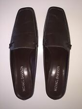 Michael Shannon Open Back Slip On Loafers Size 8.5 Brown Leather Kitten Heel