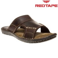 Mens Red Tape Ale Brown Leather Slip On Open Toe Summer Sandals UK Sizes 6 to 12