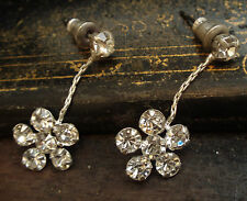 Vintage Flower Crystal Drop Pierced Earrings