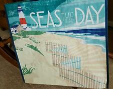 "TJ Maxx Seize ""Seas The Day""  Beach Lighthouse Oceanfront Reusable Tote Bag Sack"