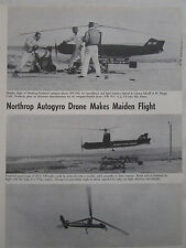 1/1964 COUPURE DE PRESSE NORTHROP VENTURA NV-101 AUTOGYRO DRONE MAIDEN FLIGHT