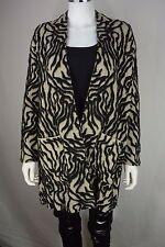 Zara Knit Limited Edition Womens Medium M Black Tan Warm Winter Coat Jacket New