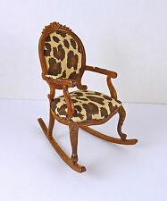 Dollhouse Miniature Fancy Animal Print Rocking Chair, P6496