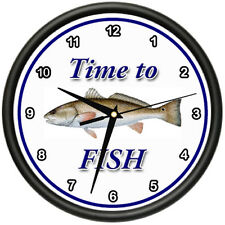 TIME TO FISH REDFISH Wall Clock fisher fisherman boat fish redfish gift