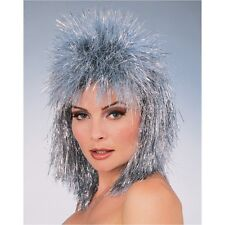 Silver Tinsel Wig Rocker Hair Womens Adult Ladies Spiky MOD Costume Space 80s