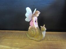 New resin Fairy Girl on Snail figurine for fairy garden display collection