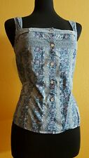 THURSDAY ISLAND BLUE SQUARE NECK SLEEVELESS LACED & BUTTONED TOP FITS LIKE MED