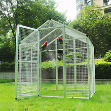 Large Walk-in Parrot Bird Aviary Cage Pet Playtop House White Free Shipping New