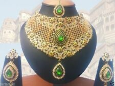 INDIAN BRIDAL JEWELLERY SET GREEN CLEAR STONES GOLD PLATED NEW -AQ/185