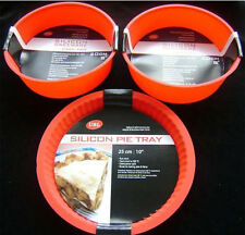 NEW SILICONE PIE & 2 ROUND SPONGE MOULDS BAKING 3 SET RED