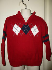TOMMY HILFIGER ~ARGYLE~RED & NAVY Pullover 1/4 Zip SWEATER Sz 3  LKNW!