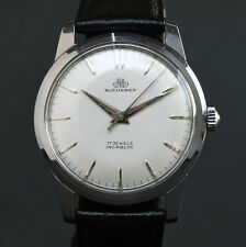 ALL ORIG! 50s Vintage BUCHERER FHF-671 CLASSIC SWISS WATCH MEN STAINLESS STEEL