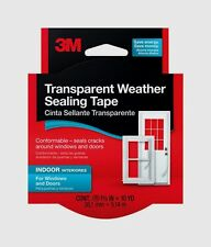 "New! 3M Transparent Weather Sealing Tape 2110NA 1.5"" x 30' seals cracks Flexible"