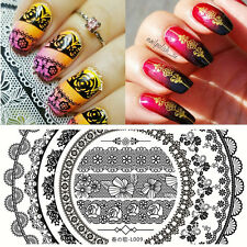 BORN PRETTY Rectangle Nail Art Stamping Plate Template  Lace Flower Image L009