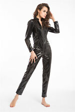 Womens Black PVC long sleeve leg zip up bodysuit catsuit playsuit 14-16 XL