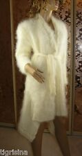 Mohair Hand Knitted Fluffy White Cream Waterfall Cardigan Jacket sweater; size L