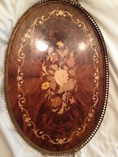 """20+ """"Long Vintage Marquetry Wood Tray With Brass Trim And Handles Italy"""