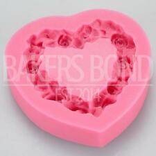 Heart Wreath Garland Silicone Mould Rose Flower Floral Cake Patterned Topper