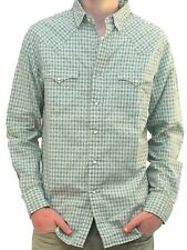NWT $185 Men's RRL Double RL Western Pearl Snap Button Check Plaid Shirt  Sz M