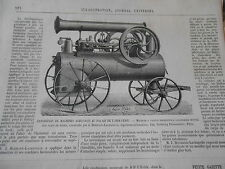 Gravure 1874 - Machine à vapeur horizontale Locomotive montée
