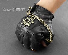 Mens Genuine Leather Steampunk Gothic Biker fingerless Gloves