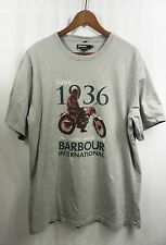"BARBOUR INTERNATiONAL MOTORCYCLE T SHiRT XXL Gray ""Since 1936...Original...Best"""