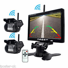 "WIRELESS CAR BUS TRUCK REAR VIEW KIT 7"" LCD MIRROR MONITOR + 2x REVERSING CAMERA"