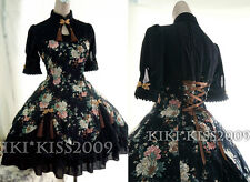 China Gothic Waloli Chipao Lolita Black Flower Kimono Cotten Dress Cosplay