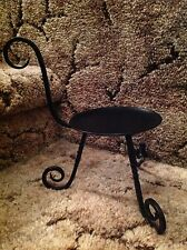"PartyLite Barrington Black Wrought Iron 4"" Pillar Candle Holder~ Mint Condition!"
