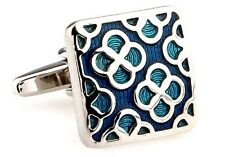 Silver Blue Turquoise Designer Maize Cufflinks Cuff Links Free Same Day Shipping