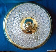 Ceiling Mount Dome Light Fixture Pressed Glass Diamond Shade Brass Plated 2 Aval