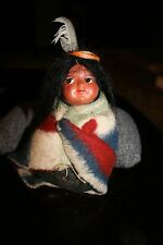 Vintage Skookum Indian papoose Baby child Doll Wrapped in Blanket MINT