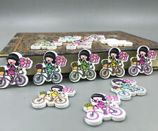 20pcs Wooden girl bicycle sewing Buttons scrapbooking Crafts Mixed color 26mm